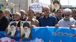 راهپیمایی مردم برخوار در محکومیت یاوه گویی های رئیس جمهور آمریکا و حمایت از سپاه پاسداران