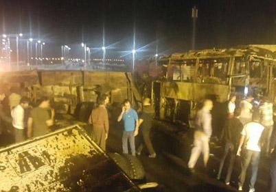 حادثه دلخراش برخورد تانکر سوخت با اتوبوس مسافربری در سنندج + فیلم