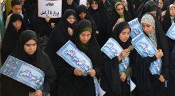 تجمع عظیم بانوان برخواری در راهپیمایی حجاب و عفاف /تصاویر