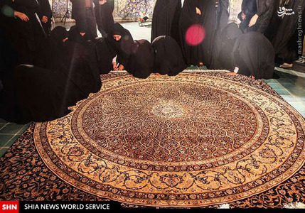 فرش دستبافت حرم حضرت زینب (س) کار دست فرش بافان برخوار و رهنان +عکس