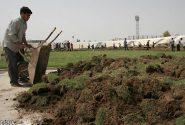چمن های زمین فوتبال حبیب آباد از بی مهری خشکید +پاسخ اداره ورزش