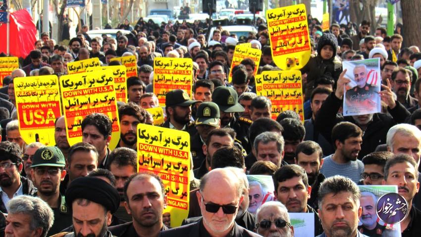 راهپیمایی مردم دولت آباد در محکومیت ترور سردارسلیمانی  تصاویر
