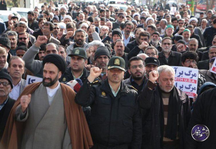خروش مردم دولت آباد در حمایت از پاسداران اسلام و امنیت|تصاویر