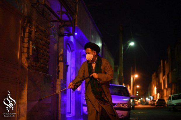عملیات ضد عفونی معابر شهر مقدس قم توسط گروه جهادی هیات یازینب