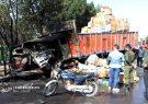 تصاویر | تصادف کامیون با تانکر حامل گازوئیل و سوختگی 100 درصد راننده